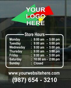 Business Hours Store Decal Sticker Custom Made Sign Your Color Logo For Free