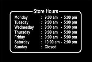 Business Hours Store Decal Sticker Custom Made Sign