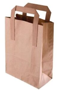 10 Small Brown Kraft Craft Paper Sos Carrier Bags Lunch Dinner Take Away