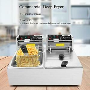 Commercial Deep Fryer With Dual Baskets 3600w 12 7qt Countertop 12l Silver
