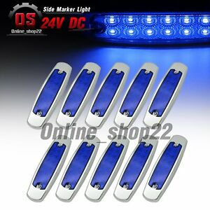 10 Pcs 6 4 Fish Shape Blue 12 Led Side Marker Indicator Light 24v Chrome Bezel