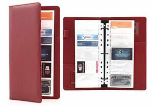 Deluxe Pu Leather Traveler 300 Business Card 3 Ring Binder Organizer 30 Red