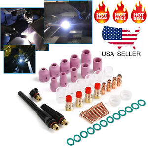 49pcs Tig Welding Torch Stubby Gas Lens Pyrex Glass Cup Kit For Wp 17 18 26