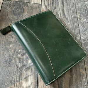Vintage Franklin Covey Quest Planner Organizer Classic Green Genuine Leather