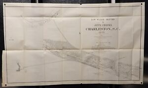 Low Water Depths In Jetty Channel Charleston Nc 1903 Chart Map Vintage