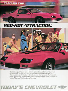1986 Chevrolet Camaro Z28 Genuine Vintage Ad Red Hot Free Shipping