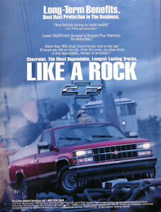 1993 Chevrolet Pickup Truck Genuine Vintage Ad Like A Rock Free Shipping