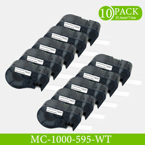 10pk Label Tape Compatible Mc 1000 595 For Bmp 51 25 4mm Black On White