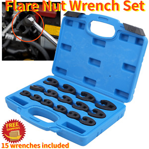 15pcs Flare Nut Wrench Steel 3 8in And 1 2in Drive Open End Crowfoot Spanner