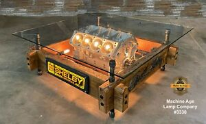 Industrial Machine Age Lamp Carroll Shelby Engine Automotive Table Barnwood