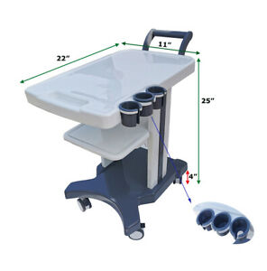 Techtongda 3 Holes Mobile Trolley Cart With 4 Wheels For Portable Ultrasound