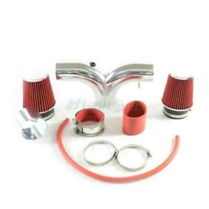 New Dual Air Induction Intake Kits Dry Filter For 03 08 Ram 1500 5 7 Hemi V8 Red