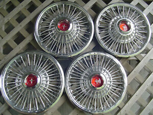 Four Vintage 1967 1968 1969 Ford Mustang Hubcaps Wheel Covers Antique Classic