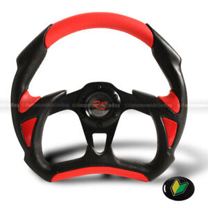 Universal Battle 320mm Black Red Pvc Leather 6 Hole Steering Wheel Horn Button