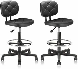 Pu Leather Drafting Rolling Stool Chair Adjustable Foot Ring Back Support Office