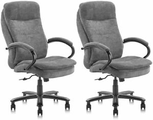 Big Tall Executive Office Chair Fabric Upholstery 400lbs Thick Padding Headrest