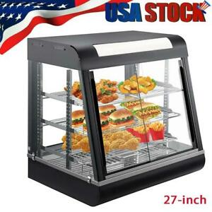 27 Commercial Food Warmer Display Hot Food Countertop Heated Cabinet Showcase