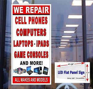 We Repair Cellphone Computers Game Consoles Led Flat Panel Light Box Sign 48x24