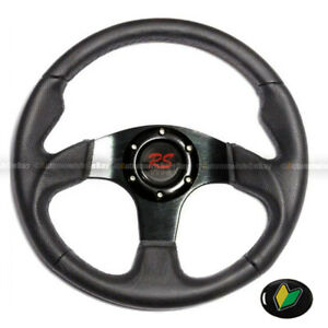 Universal 320mm Black Pvc Leather Stitching 6 Hole Steering Wheel Horn Button