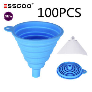 100pcs Paint Paper Filter Strainers Nylon Cone Sieve Cone Cup For Spray Gun Us