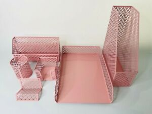 Blu Monaco Office Supply Pink Desk Accessories Set Of 6