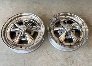 Vintage Cragar Ss Skinny 15x4 Gasser Wheels 5x4 75 Chevy Race Front Runners