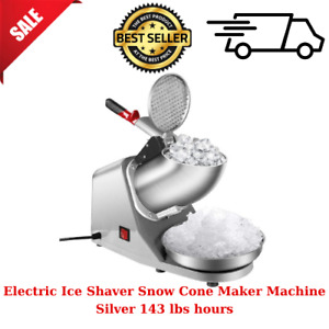 Electric Ice Shaver Snow Cone Maker Machine Silver 143 Lbs Hours