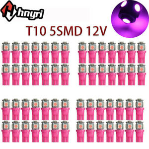 100pc Car Led Wedge Bulbs T10 5050 5smd Pink Purple 12v Interior License Lights