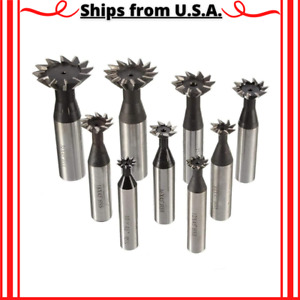 45 To 60 Degrees Dovetail Cutters Straight Shank 8 Flutes Insert End Mill Set
