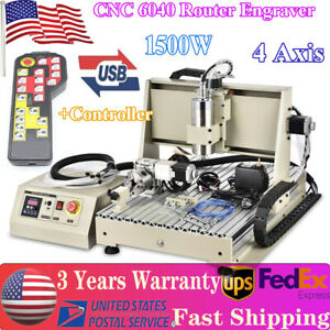 Usb 4 Axis 6040 Cnc Router Engraver 1500w Vfd Spindle Milling Machine controller