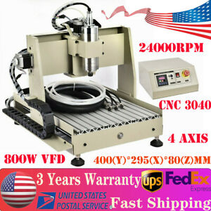 4 Axis 3040 Cnc Router Engraver Engraving Milling Machine Metal Cutter 800w Vfd