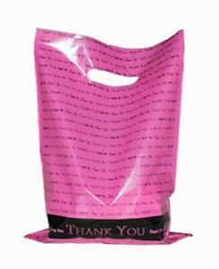 Thank You Merchandise Bags With Handles 50 Large Extra Thick Hot Pink Glossy