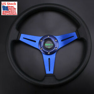 6 Bolt Steering Wheel Sport Racing 340mm Deep Dish With Horn Button Blue Us