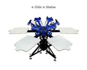 Techtongda 6 Color 6 Station Screen Printing Press Printer With Fixed Pallet