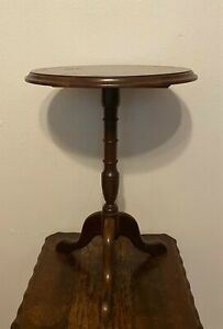 Vintage Round Pedestal Tea Occasional Side Table Plant Stand 21 5