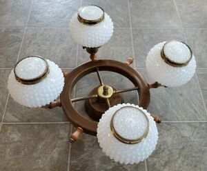 Vtg 21 Nautical Ships Wheel Ceiling Light Chandelier Lamp Fixture Hobnail Shade