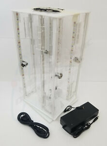 Led Lit Manual Counter Top Rotating Display Case 17 X 8 X 8 Total Dimensions