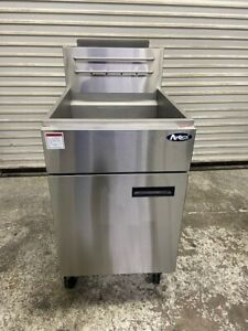 75 Lb Deep Fat Gas Fryer Solid Stainless Steel Nsf Atosa Atfs 75 On Wheels 5582