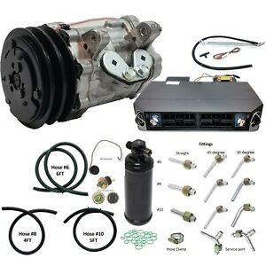 A C Universal Kit Compressor Sd7b10 V Pulley W Fittings Drier Hoses Evaporator