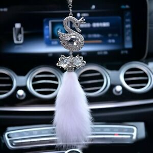 Car Pendant Rhinestone Swan Accessories Ball Hanging Mirror Collection