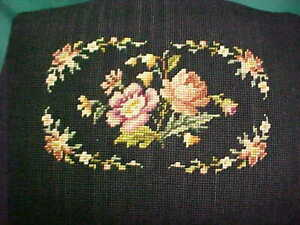 Antique Country French Vintage Farmhouse Shabby Chic Needlepoint Foot Stool Rose