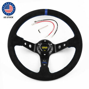 Us Blue 14 350mm Deep Steering Wheel With Suede Leather Drifting 6 Bolt Us