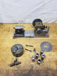 Vintage 5 Indexing Dividing Head With Tailstock Cushman 3 Chuck And Collets
