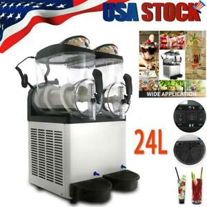 Commercial 24l Slush Making Machine Frozen Drink Machine Ice Maker 2 Tanks Usa