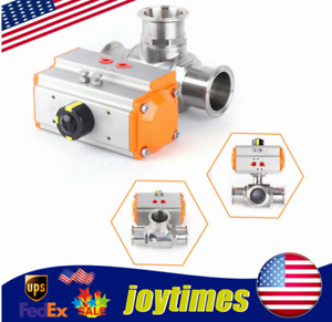 2 Stainless Steel 316l Pneumatic Ball Valve 3 way T type For Food Chemical Us