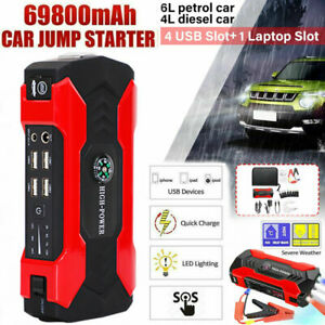 69800mah 12v Car Jump Starter Portable Usb Power Bank Battery Booster Clamp 600a