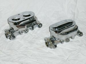 Lot Of 2 Chrome No Bail Street Rod Master Cylinders 916 12 For Parts Repair