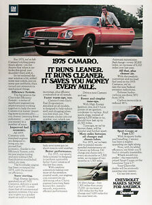 1975 Chevrolet Camaro Lot Of 2 Genuine Vintage Ads Free Shipping