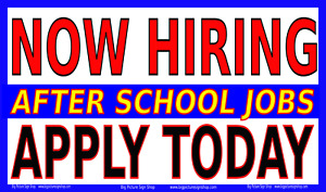 Now Hiring After School Jobs banner lightning Fast Shipping top Quality