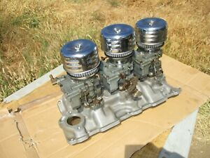 Offenhauser Chevy Sbc 350 Intake Manifold Tri Power 3558 Rochester 3x2 Carbs